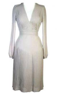 Burberry Pleated Beige Dress Angle1