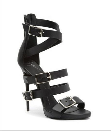 Giuseppe Zanotti multi-buckle black leather heels