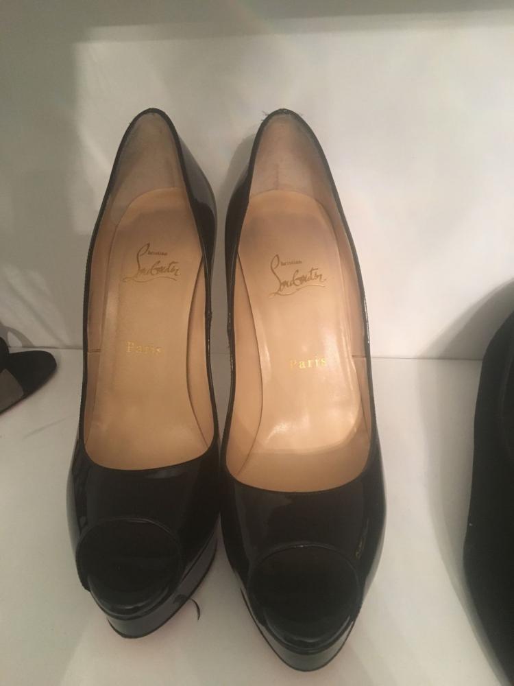 CHRISTIAN LOUBOUTIN Patent Calf Lady 150 Peep Toe