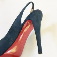 Christian Louboutin Blue Suede Pumps  Angle4