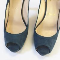 Christian Louboutin Blue Suede Pumps  Angle6