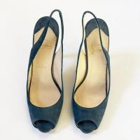 Christian Louboutin Blue Suede Pumps  Angle7