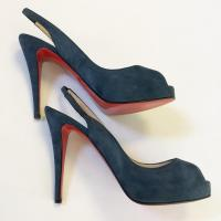 Christian Louboutin Blue Suede Pumps  Angle8