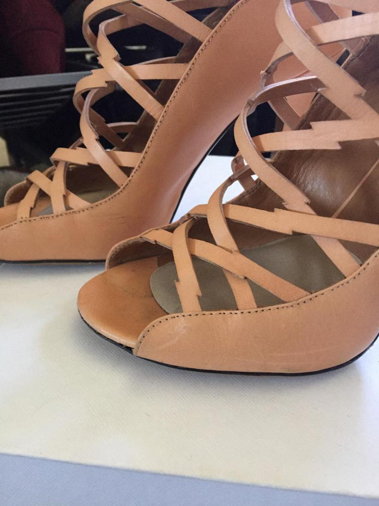 Nude strappy ankle high heel sandal