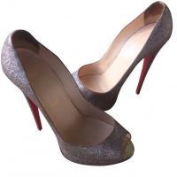 Lady peep toe glitter pumps