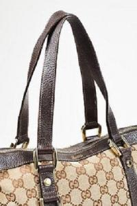 Gucci Brown Monogram Canvas Leather Trim Angle2