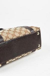 Gucci Brown Monogram Canvas Leather Trim Angle3