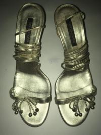 Strap Up Gold Designer Heels