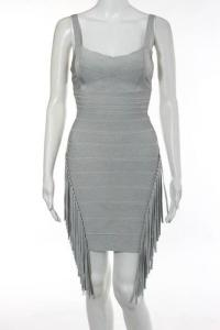 Herve Leger Gray Sleeveless Tassel V Neck