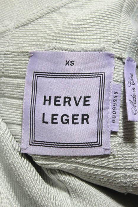 Herve Leger Gray Sleeveless Tassel V Neck