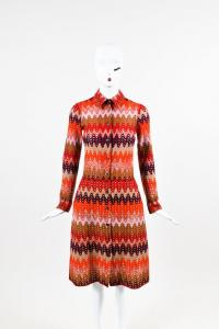 Missoni Red Purple Brown Multicolor Wool Dress Angle2