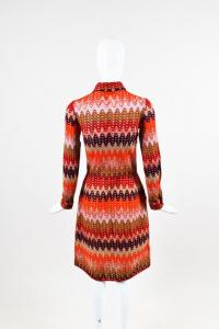 Missoni Red Purple Brown Multicolor Wool Dress Angle3