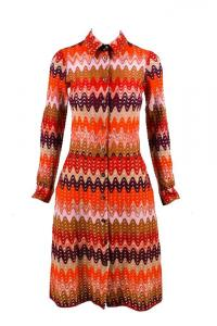 Missoni Red Purple Brown Multicolor Wool Dress Angle1