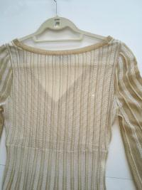 Missoni Italy Gold Metallic Knit Dress Angle7