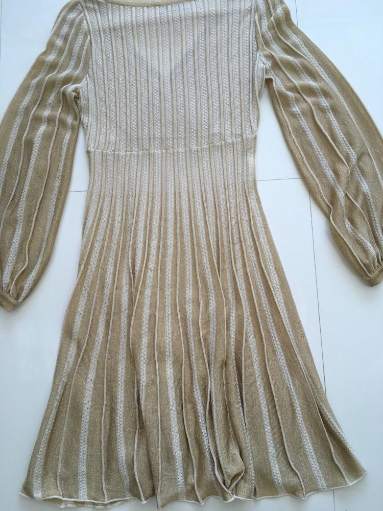Missoni Italy Gold Metallic Knit Dress