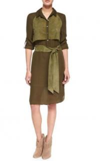 Haute Hippie Two-Tone suede chiffon Belted Dress, Angle1