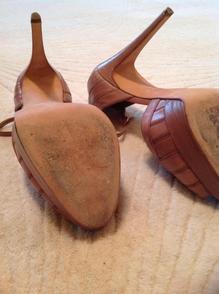 Brian Atwood Mauve art-deco sandals