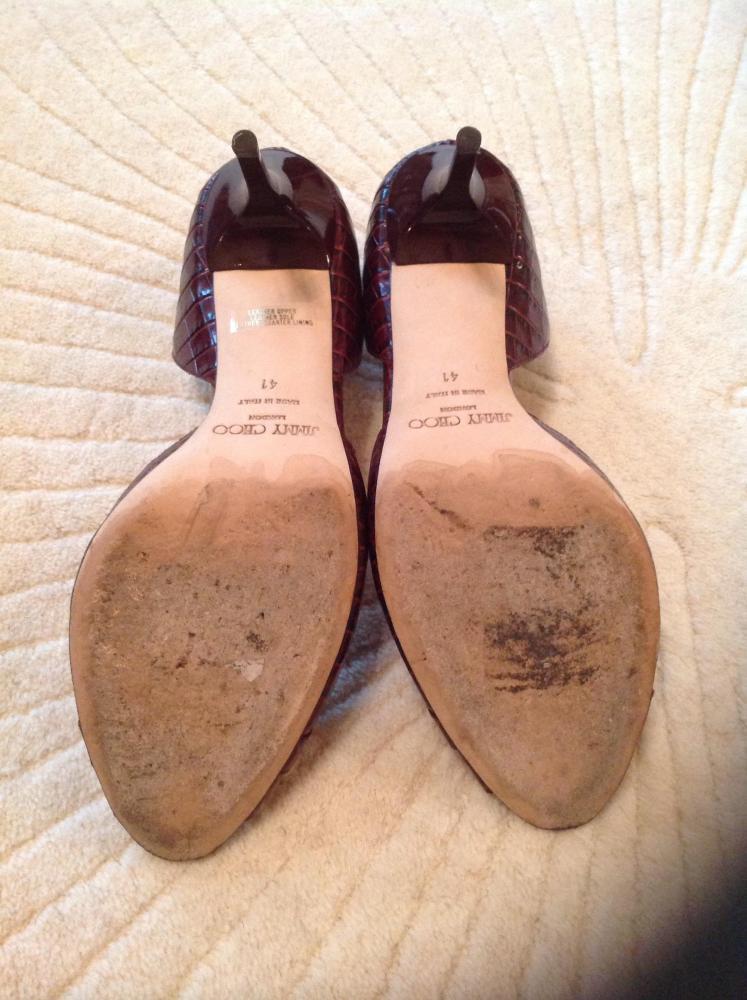 Jimmy Choo magenta croc d'orsay sandals