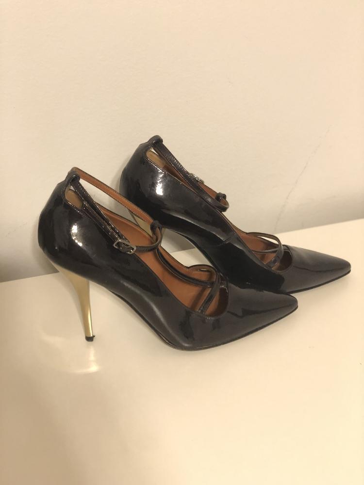 Lanvin T-Strap patent leather sandal pumps