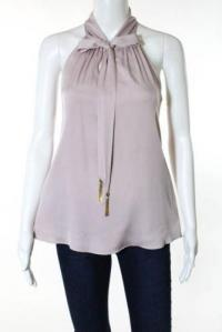 Milly New Purple Tie Neck  Sleeveless Blouse Top