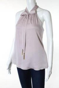 Milly New Purple Tie Neck  Sleeveless Blouse Top  Angle2