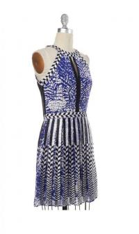 PARKER Abstract Blue White Black Silk print dress