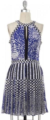 PARKER Abstract Blue White Black Silk print dress Angle2