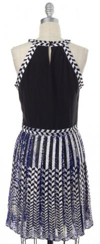 PARKER Abstract Blue White Black Silk print dress Angle3