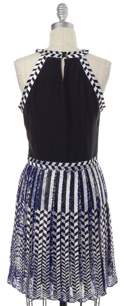 PARKER Abstract Blue White Black Silk print dress