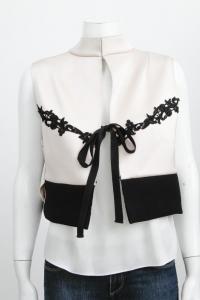 Pink Black Mock Neck Lace Tie Boxy Blouse-MARNI Angle4