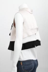 Pink Black Mock Neck Lace Tie Boxy Blouse-MARNI Angle5