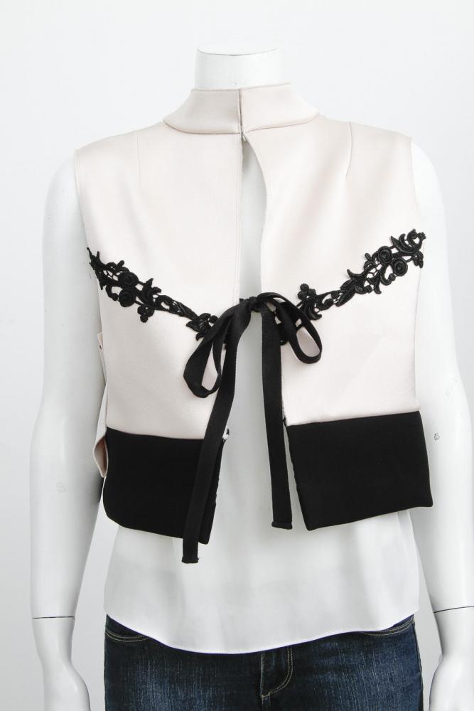 Pink Black Mock Neck Lace Tie Boxy Blouse-MARNI