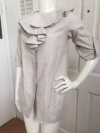 Marni New Ruffled Collar 3/4 Length Lined Jacket Angle4