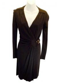 BLACK STRETCH CADY BUCKLE sz XS GUCCI DRESS