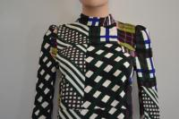 Plaid Back Zip Long Sleeve Blouse/Top -Marni Brown Angle4