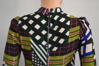 Plaid Back Zip Long Sleeve Blouse/Top -Marni Brown Angle5