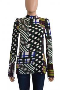 Plaid Back Zip Long Sleeve Blouse/Top -Marni Brown Angle1