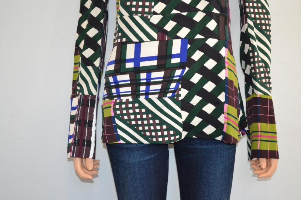 Plaid Back Zip Long Sleeve Blouse/Top -Marni Brown