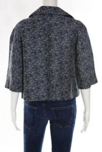 Front Open Linen Abstract Print Blue Jacket-Marni  Angle3