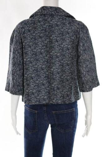 Front Open Linen Abstract Print Blue Jacket-Marni