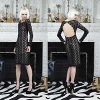 Alice and Olivia backless black lace dress