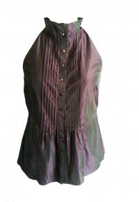 VINCE Metallic Purple Blouse Angle1