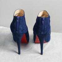 Navy Blue Peep Toe Booties -Christian Louboutin Angle2
