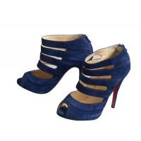 Navy Blue Peep Toe Booties -Christian Louboutin Angle1