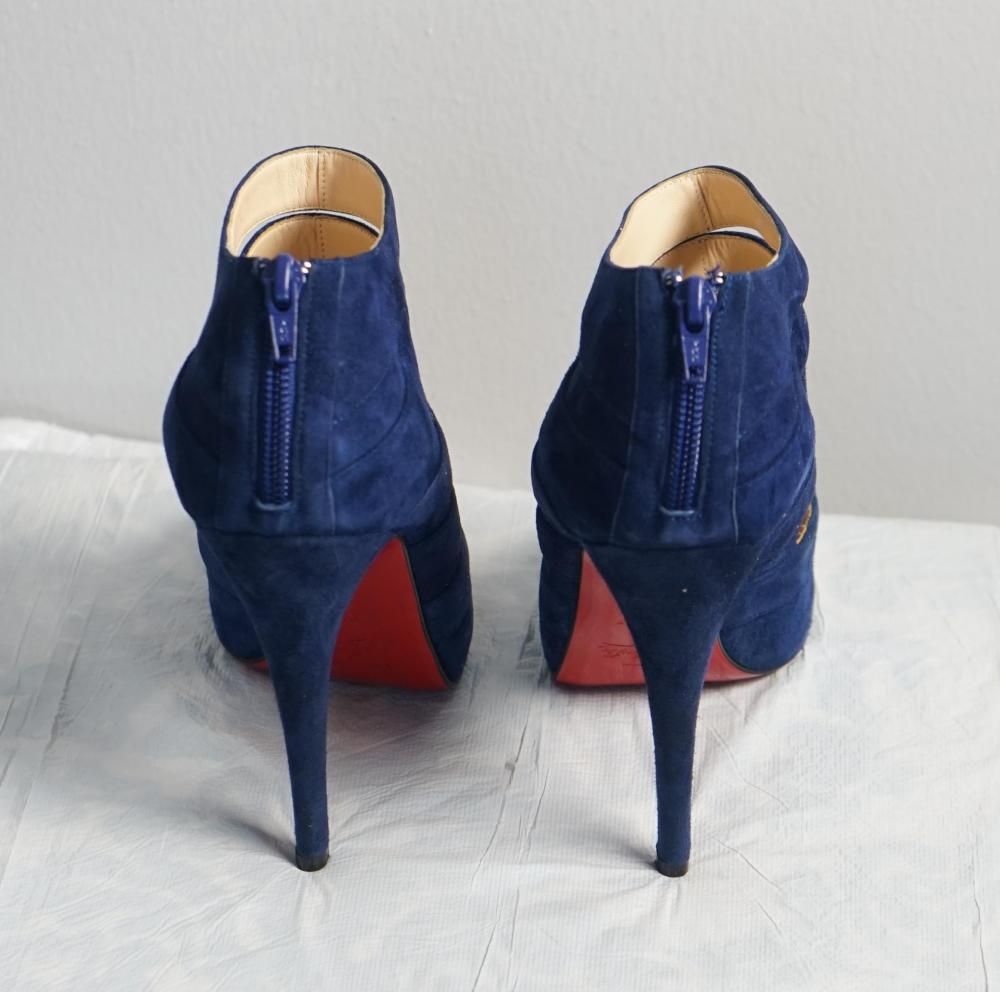 Navy Blue Peep Toe Booties -Christian Louboutin