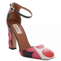 Valentino Pink Red Polka Dot Leather Block Heel