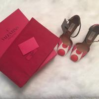 Valentino Pink Red Polka Dot Leather Block Heel Angle2