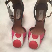 Valentino Pink Red Polka Dot Leather Block Heel Angle4