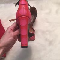 Valentino Pink Red Polka Dot Leather Block Heel Angle5