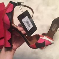 Valentino Pink Red Polka Dot Leather Block Heel Angle6